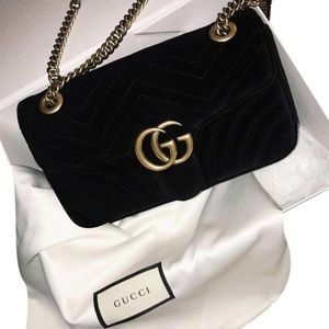 Gucci marmont small GG Black velvet cross body bag
